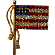 American Flag Pin with Rhinestones