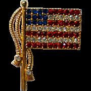 American Flag Pin with Rhinestones