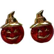Avon Halloween Pumpkin Jack-O-Lantern Earrings