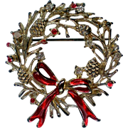 Silver Plate Christmas / Holiday Wreath Pin