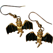 Little Metal Flying Bat Earrings for Halloween