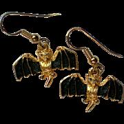 Little Metal Flying Bat Earrings for Halloween