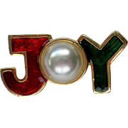 JOY Pin for the Holidays / Christmas / Hanukkah with faux Pearl