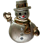 Smiling Silver and Gold tone Snowman for Winter Holidays