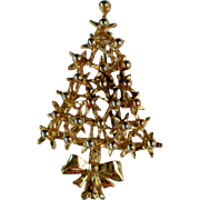 Gold tone Christmas Tree Pin for the Holidays