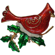 Red Christmas / Holiday Cardinal Bird Pin marked KC