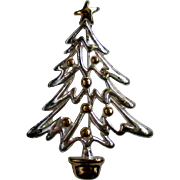 Silver and Gold tone Christmas Tree Pin for the Holidays