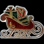 Lucite Santa's Sleigh Pin for Christmas Holidays