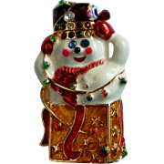Collectible Christopher Radko Snowman Jack in a Box Pin for Winter