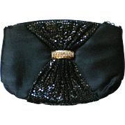 Black Satin Metal Mesh Evening Shoulder Bag