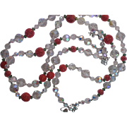 Double Strand Vendome AB Raspberry Sugar Crystal Beaded Necklace