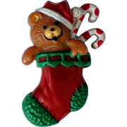 Teddy Bear Christmas Holiday Bear in a Stocking Pin