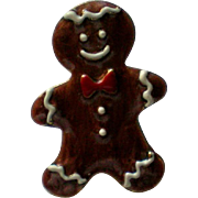 Small Metal Gingerbread Man Tie Tack Pin for Christmas Holidays