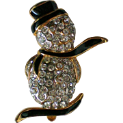 Pave' Set Rhinestone Snowman for Christmas Holidays
