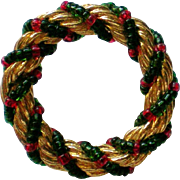 Golden Wreath Tie Tack Pin with Red & Green Beads