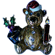 Christmas Holiday Teddy Bear Pin
