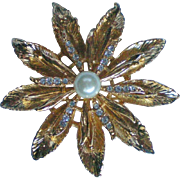 Golden Rhinestone Poinsettia Pin with faux Pearl Center