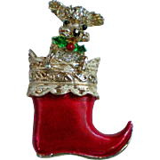 Christmas Stocking with Poodle Puppy Pin