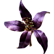 Lavender Orchid Flower Brooch with Rhinestone Center Posts