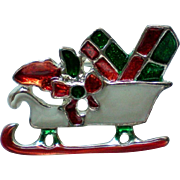 Santa's Sleigh loaded with Presents Pin for Christmas Holidays