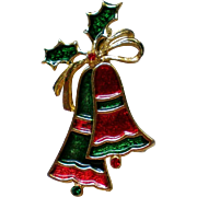 Red and Green Holiday Christmas Bells Pin by Beatrix