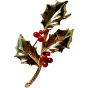 Holly Leaves with Berries Pin by MYLU for Christmas Holidays