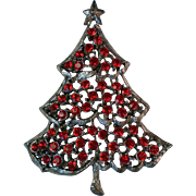 Signed Weiss Red Rhinestone Christmas Tree for the Holidays