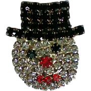 Pave set Rhinestone Frosty the Snowman Pin for the Winter Holidays