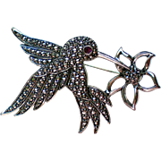 Avon Hummingbird Pin with Marcasite finish