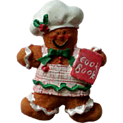 Ginger Bread Mom Pin with Hat and Cook Book for the Christmas Holidays