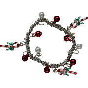 Seasonal Holiday Bracelet with Jingle Bells and Candy Canes