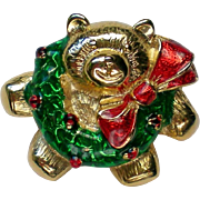 Christmas Holiday Teddy Bear Pin with Wreath