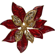 Red Poinsettia Pin for Christmas Holidays by Roman