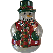 Shiny Ceramic Snowman Pin for Winter Holidays