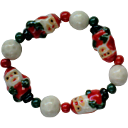 Ceramic Santa Stretch Bracelet for Christmas Holidays