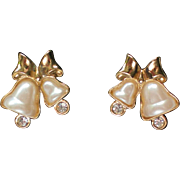 Avon Pearlescent Bells Pierced Earrings for Christmas Holidays