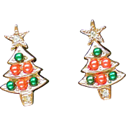 Colorful Christmas Tree Pierced Earrings by Avon
