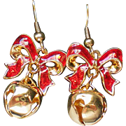 Avon Holiday Bow Bell Pierced Earrings for Christmas Season