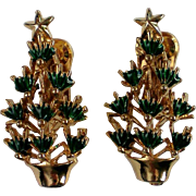 Christmas Tree Clip on Earrings for the Holidays