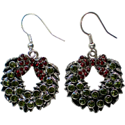 Silver tone Metal Christmas Holiday Wreath Earrings