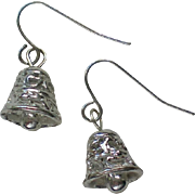 Silver Metal Bells Dangle Earrings for the Holiday Season