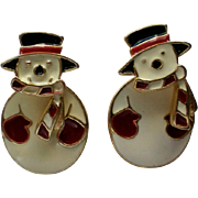 Two Part Snowmen Pierced Earrings
