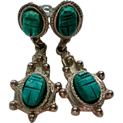 Egyptian Revival Scarab Clip Earrings
