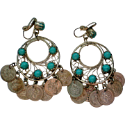 Egyptian or Indian Coin Dangle Hoop Earrings with Faux Turquoise
