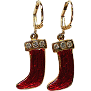 French Wire Dangle Santa Boot Earrings for Christmas Holidays