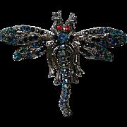 Glitzy Rhinestone Studded Dragonfly Pin