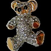 Sparkling Rhinestone Teddy Bear Pin