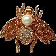 Gold tone Filigree Rhinestone Bee Pin