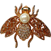 Gold tone Filigree Rhinestone Bee Pin