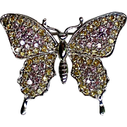 Lavender Pave' Rhinestone Butterfly Pin
